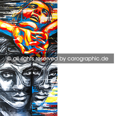 Original, art, carographic, paintings, malerei, cottbus, bunte, gesichter, portraits