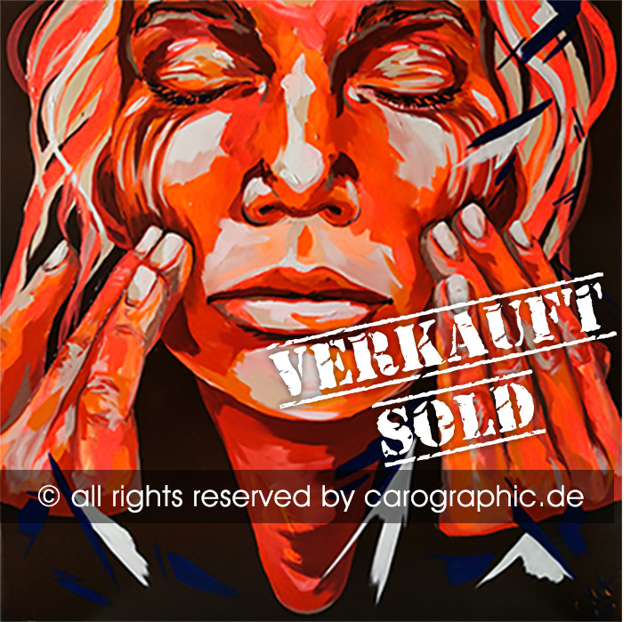 Carolyn Mielke, Original, art, carographic, paintings, malerei, cottbus,  Red Hands Tale, red, orange, neon, big, canvas, Leinwand, acrylic painting, gesichter, portraits